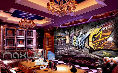 3D Graffiti Abstract Orange Blue Letter Wall Murals Wallpaper Art Decals Prints  IDCWP-TY-000162