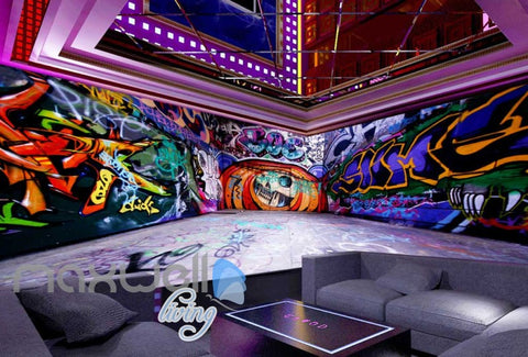 Image of 3D Graffiti Eagle Letter Lane Street Art Wall Murals Wallpaper Decals Prints IDCWP-TY-000163