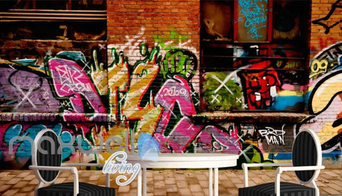 Image of 3D Graffiti Big Eye Theme Letter Words Wall Murals Wallpaper Decals Prints Decor IDCWP-TY-000170