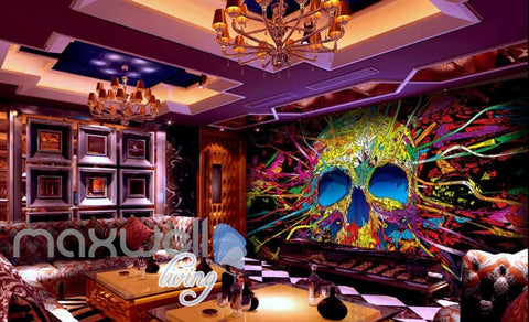 Image of 3D Graffiti Skull tube Abstract Art Wall Murals Wallpaper Decals Prints Decor  IDCWP-TY-000172
