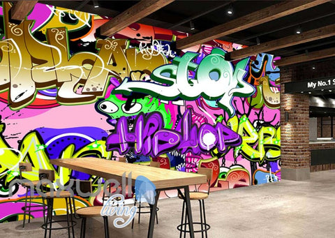 Image of 3D Graffiti Hiphop Stop Color Letter Wall Murals Wallpaper Decals Prints Decor IDCWP-TY-000174