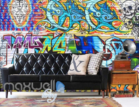 Image of 3D Graffiti Colorboard Skull Abstract Art Wall Murals Wallpaper Decals Prints IDCWP-TY-000180