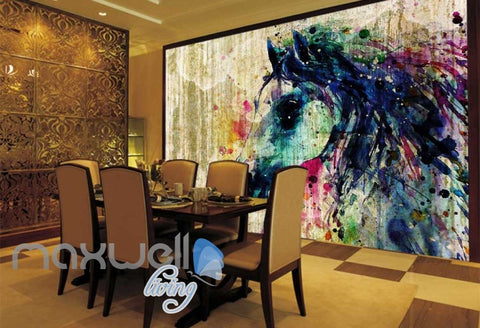 Image of 3D Graffiti Watercolor Horse Urban Art Wall Murals Wallpaper Decals Print Decor IDCWP-TY-000183