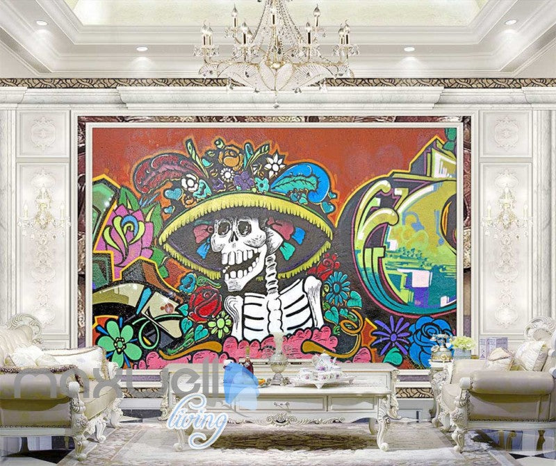 3D Graffiti Skeleton Rose Daisy Flower Wall Murals Wallpaper Decals Print Decor IDCWP-TY-000184