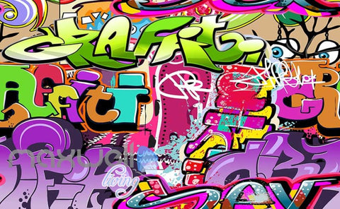 Image of 3D Graffiti Eyes Abbstract Letters Art Wall Murals Wallpaper Decals Print Decor IDCWP-TY-000185