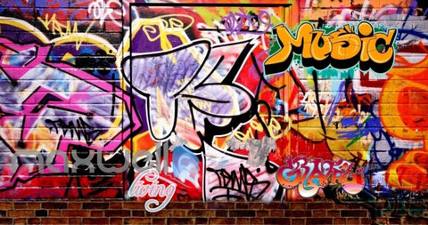 Image of 3D Graffiti Music Colorful Street Art Wall Murals Wallpaper Decals Prints Decor IDCWP-TY-000190