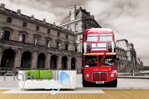 Image of 3D Graffiti Red London Bus Street Art Wall Murals Wallpaper Decals Prints Decor IDCWP-TY-000191