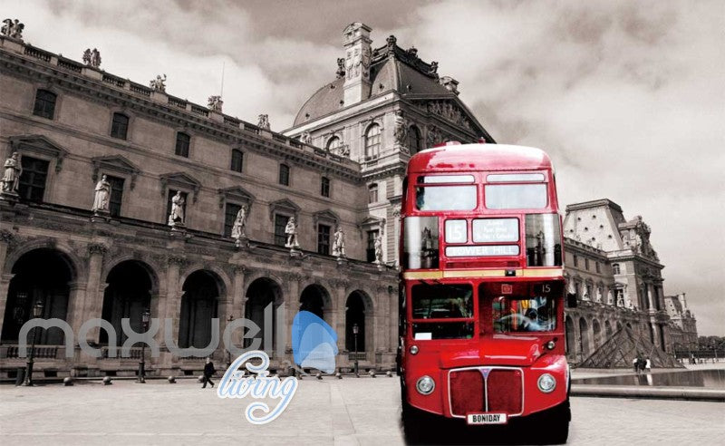 3D Graffiti Red London Bus Street Art Wall Murals Wallpaper Decals Prints Decor IDCWP-TY-000191