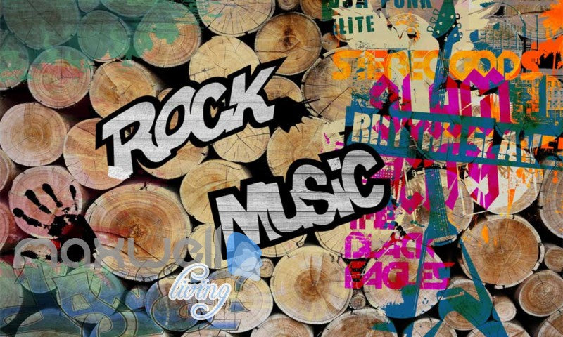 3D Graffiti Wood Log Rock Music Hand Wall Murals Wallpaper Decals Prints Decor IDCWP-TY-000194