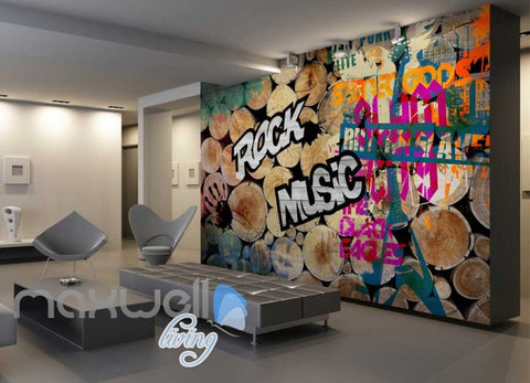 Image of 3D Graffiti Wood Log Rock Music Hand Wall Murals Wallpaper Decals Prints Decor IDCWP-TY-000194