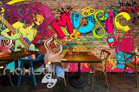 Image of 3D Graffiti Heavy Music Monster Fire Wall Murals Wallpaper Decals Prints Decor IDCWP-TY-000196