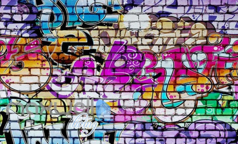 Image of 3D Graffiti Brick Color Words Street Art Wall Murals Wallpaper Decals Print  IDCWP-TY-000198