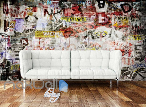 Image of 3D Graffiti Letters Retro Urban Street Art Wall Murals Wallpaper Decals Print  IDCWP-TY-000199