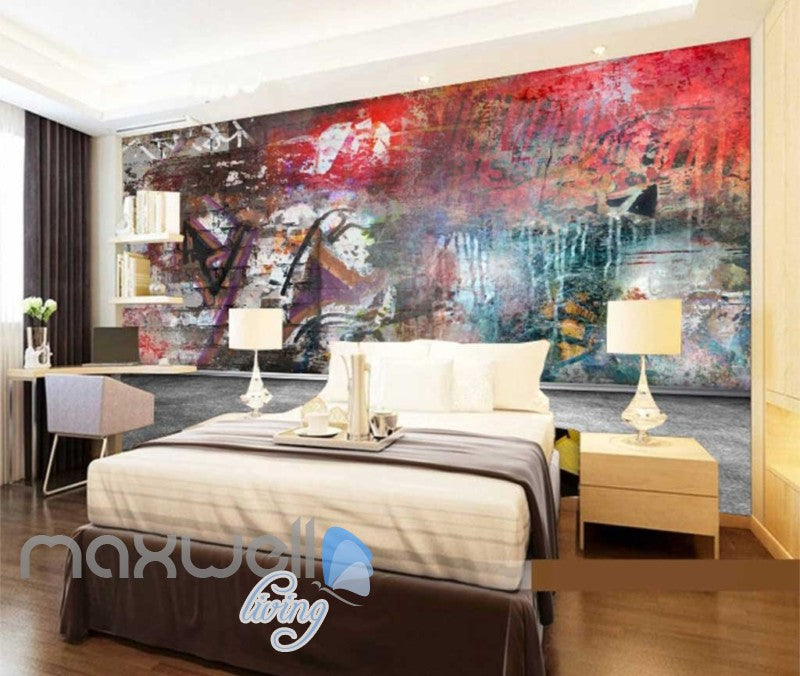 3D Graffiti Red Color Theme Urban Street Art Wall Murals Wallpaper Decals Print IDCWP-TY-000200
