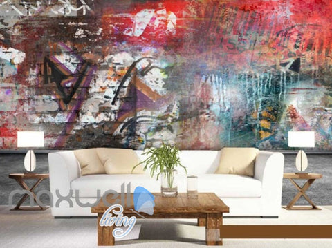 Image of 3D Graffiti Red Color Theme Urban Street Art Wall Murals Wallpaper Decals Print IDCWP-TY-000200