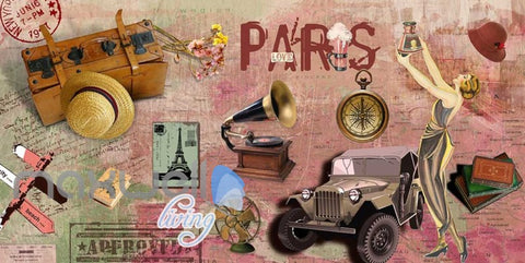 Image of 3D Graffiti Vintage Paris Jeep Phonograph Art Wall Murals Wallpaper Decals Print IDCWP-TY-000204