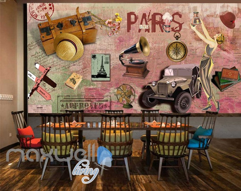 3D Graffiti Vintage Paris Jeep Phonograph Art Wall Murals Wallpaper Decals Print IDCWP-TY-000204