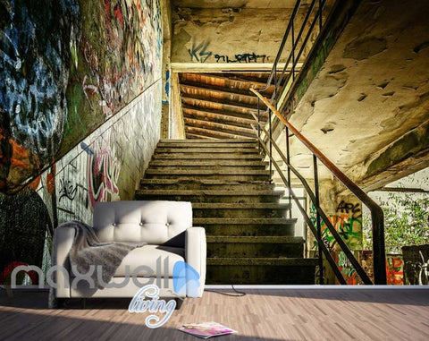 Image of 3D Graffiti Step Stair Abandoned Building Art Wall Murals Wallpaper Decals Print IDCWP-TY-000209