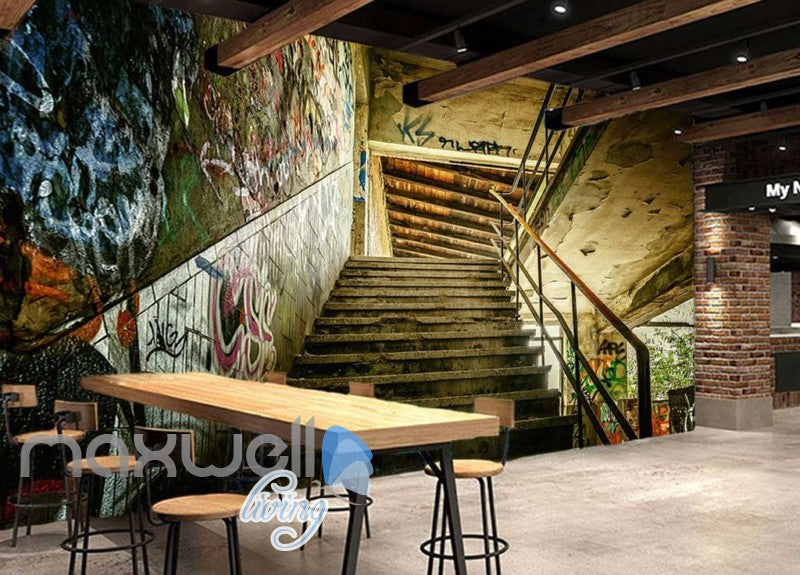 3D Graffiti Step Stair Abandoned Building Art Wall Murals Wallpaper Decals Print IDCWP-TY-000209