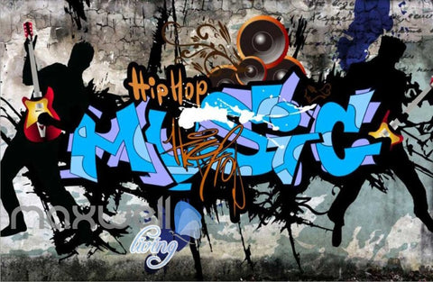 Image of 3D Graffiti Band Hiphop Music Street Art Wall Murals Wallpaper Decal Print Decor IDCWP-TY-000210