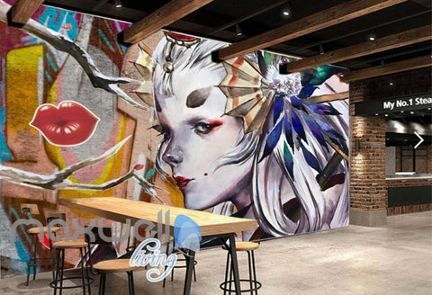 Image of 3D Graffiti Girl Lip Princess Street Art Wall Murals Wallpaper Decal Print Decor IDCWP-TY-000211