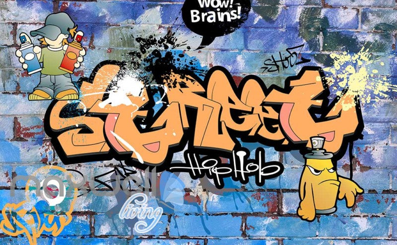 3D Graffiti Brains Street Hiphop Boys Art Wall Mural Wallpaper Decal Print Decor IDCWP-TY-000212