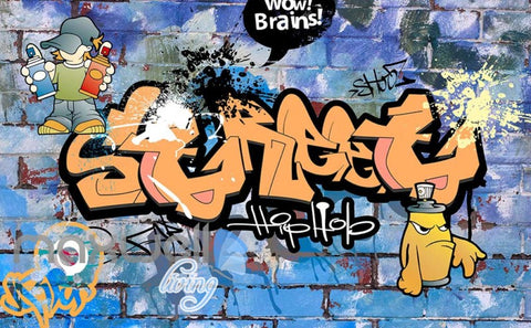 Image of 3D Graffiti Brains Street Hiphop Boys Art Wall Mural Wallpaper Decal Print Decor IDCWP-TY-000212