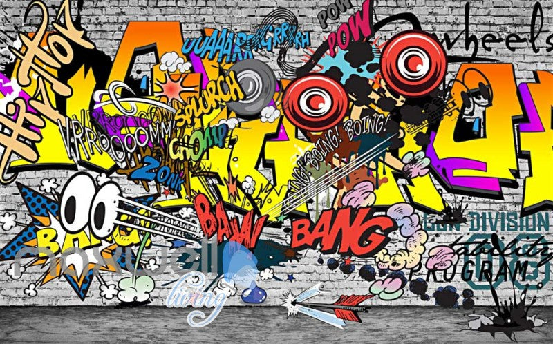 3D Graffiti Boing Bang Hiphop Color Art Wall Murals Wallpaper Decals