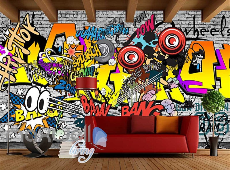 3D Graffiti Boing Bang Hiphop Color Art Wall Murals Wallpaper Decals Print Decor IDCWP-TY-000213