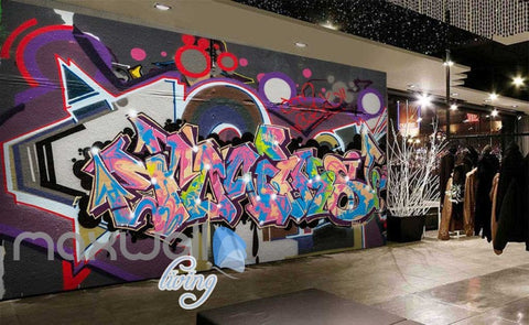 Image of 3D Graffiti Abstract World Letters Street Art Wall Murals Wallpaper Decals Print IDCWP-TY-000217