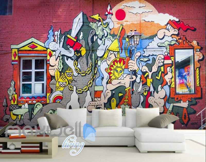 3D Graffiti Window Castle Sun Cloud Art Wall Murals Wallpaper Decals Print Decor IDCWP-TY-000221