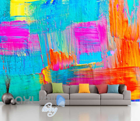 Image of 3D Graffiti Blue Pink Paint Theme Art Wall Murals Wallpaper Decals Prints Decor IDCWP-TY-000226
