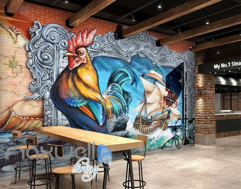 3d Graffiti Rooster Sail Boat Paint Wall Murals Wallpaper Decals Prints Decor Idcwp Ty 000228