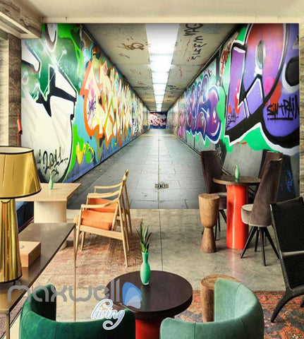 Image of 3D Graffiti Underground Letters Art Wall Murals Wallpaper Decals Prints Decor IDCWP-TY-000233