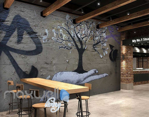 Image of 3D Graffiti Hand Bulb Tree Street Art Wall Murals Wallpaper Decals Prints Decor IDCWP-TY-000235