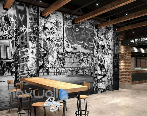 3D Graffiti Black White Letters Word Wall Murals Wallpaper Decals Prints Decor IDCWP-TY-000237