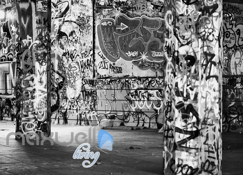3d graffiti black white letters word wall murals wallpaper decals prints decor idcwp ty