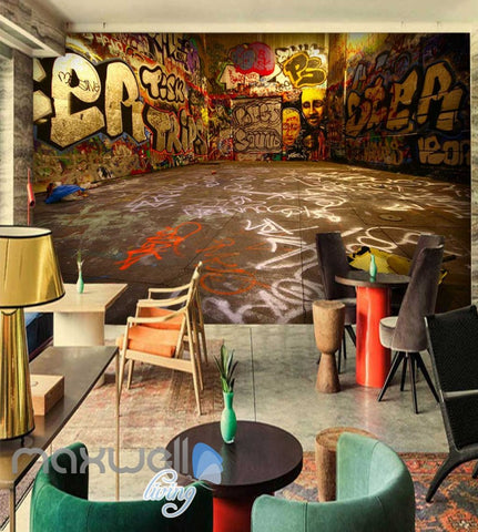 Image of 3D Graffiti Ground Abstract Letters Art Wall Murals Wallpaper Decals Print Decor IDCWP-TY-000238