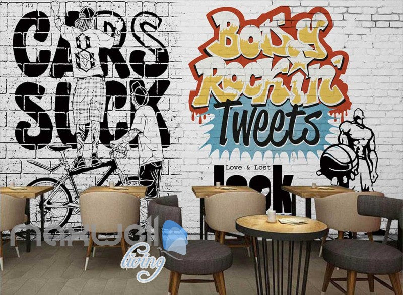 3D Graffiti Love & Lost Rock Tweets Art Wall Murals Wallpaper Decals Print Decor IDCWP-TY-000240