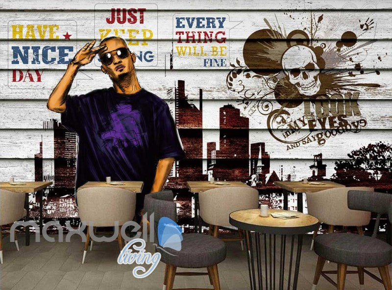 3D Graffiti Rocker Skull New York Art Wall Murals Wallpaper Decals Prints Decor IDCWP-TY-000242