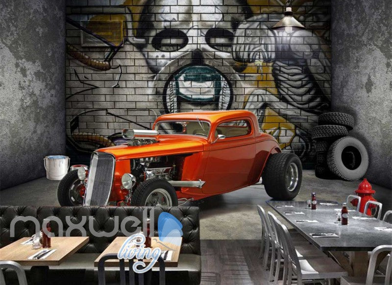 3d graffiti retro car wheel garage art wall murals wallpaper decalstap to expand