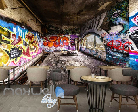 Image of 3D Graffiti Abstract Letters Interior Art Wall Murals Wallpaper Decals Prints IDCWP-TY-000247