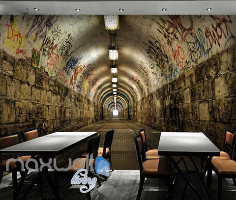 Image of 3D Graffiti Brick Tunnel Street Art Wall Murals Wallpaper Decals Prints Decor IDCWP-TY-000251