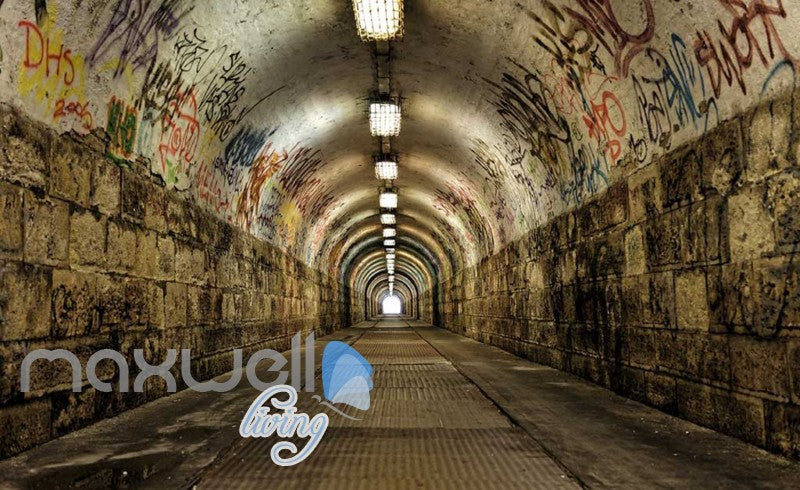 3D Graffiti Brick Tunnel Street Art Wall Murals Wallpaper Decals Prints Decor IDCWP-TY-000251