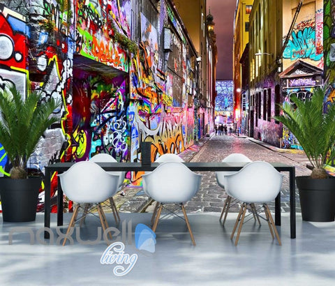 Image of 3D Graffiti Street Lane Art Gallery Wall Murals Wallpaper Decals Prints Decor IDCWP-TY-000252