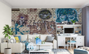 3D Graffiti Brick Wall Abstract Art Wall Murals Wallpaper Decals Prints Decor IDCWP-TY-000254