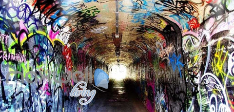 Image of 3D Graffiti Tunnel Paint Street Art Wall Murals Wallpaper Decals Prints Decor IDCWP-TY-000256