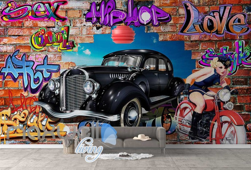 3D Graffiti Vintage Car Motorbike Break Wall Murals Wallpaper Decals Print Decor IDCWP-TY-000275