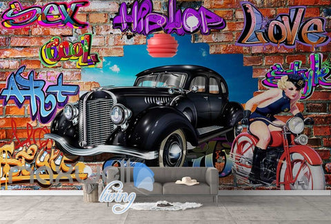 Image of 3D Graffiti Vintage Car Motorbike Break Wall Murals Wallpaper Decals Print Decor IDCWP-TY-000275