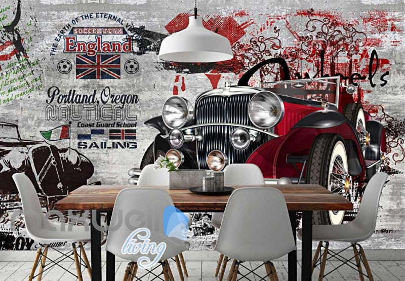 3D Graffiti Vintage Car interior Art Wall Murals Wallpaper Decals Prints Decor IDCWP-TY-000277